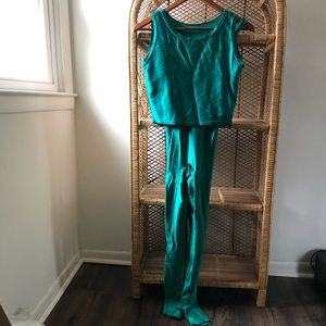 Vintage Shiny Green 90's Full Length Bodysuit✨
